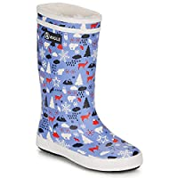Aigle Lolly POP Print Fur Boots Child Blue/Red/White Wellington Boots