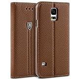 BEZ Coque pour Samsung Galaxy S5, Housse Samsung Galaxy S5 / S5 Neo, Portefeuille Etui Pochette de Protection en Faux Cuir avec Porte-Cartes de Crédit, Support, Fermeture Magnétique - Marron