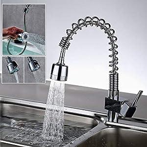 Auralum® – Grifo para baño y cocina, tipo cascada, monomando, de latón cromado, para agua caliente y fría
