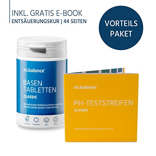 tri.balance Basentabletten Classic 225 Stück - 1er Pack inkl. 55 pH-Teststreifen - E-Book Entsäuerungskur I vegan - zur Säuren Regulation