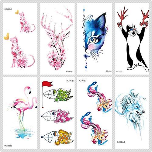 lihaohao Temporäre Tattoo-Aufkleber Niedliche Tiere Tatoo Katze Fisch Temporäre Tätowierung Aufkleber Für Frauen Fake Tattoo Body Art 10.5X6Cm 8St