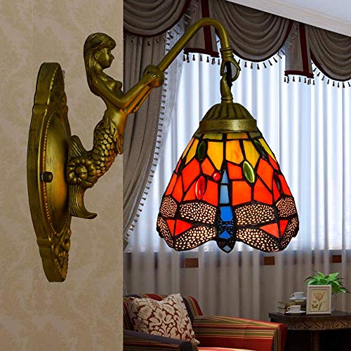 Qyyru Tiffany-Stil Wandleuchte Pastoral Europäischen Antike Wandleuchte Korridor Gang Einfache Glas Lampenschirm Mit Kristall Farbigen Perlen Balkon Korridor Wandleuchte-1 licht (28 farben) (Bogen Farbigem Glas Aus)