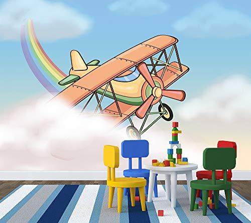 Bilderdepot24 Selbstklebende Fototapete - Kinderbild - Flugzeug Cartoon - Pastell - 75x50 cm - Poster – Dekoration – Wandbild – Wandposter – Wand - Wanddeko