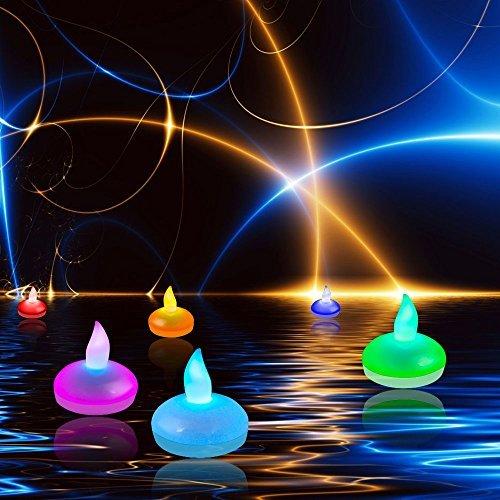 Set di 12 Floating LED Candele, DLAND Cambiano Colore Mood Tea Lights fredda impermeabile senza fiamma White Wedding festa di Natale Xmas Party Decorazione Floreale