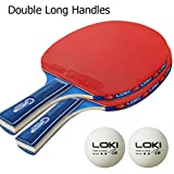 Prom-near Racchetta da Ping Pong Set Formazione per Bambini Student Tennis da Tavolo Set New Contest, 2Racchette da Ping Pong + 2Palle da Ping Pong, Double Long Handles
