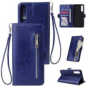 HUDDU Kompatibel mit Handyhülle für Huawei P20 Pro Hülle Leder Wallet Schutzhülle Kartenfächer Reißverschluss Brieftasche Magnetverschluss Filp Tasche PU Case Ständer Lederhülle Wristlet Blau