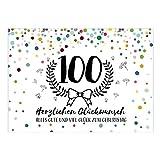 Große XXL Design Glückwunsch-Karte zum 100. Geburtstag mit Umschlag/DIN A4/Konfetti mit Jubiläumskranz/Schnaps-Zahl/Grußkarte