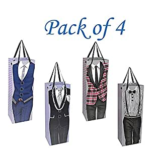Suited n' Booted Man Bottle Gift Bags With REAL BUTTON Embellishment (PACK of 4)