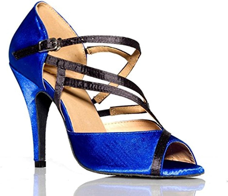 GUOSHIJITUAN Frauen Blue Latein TanzschuheLeise Unten Pu Dancing Schuhe High Heels Tango Salsa Soziale Tanzschuhe