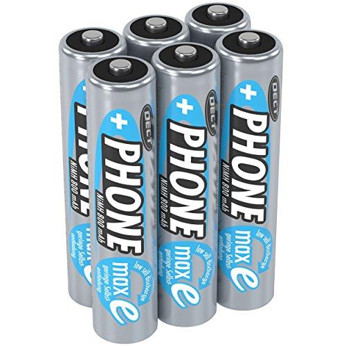 ANSMANN Akku AAA Micro 800 mAh 1,2V NiMH für Schnurlostelefon 6 Stück - Wiederaufladbare Batterie mit geringer Selbstentladung maxE - Akkus für Festnetz Telefon schnurlos - Rechargeable Battery