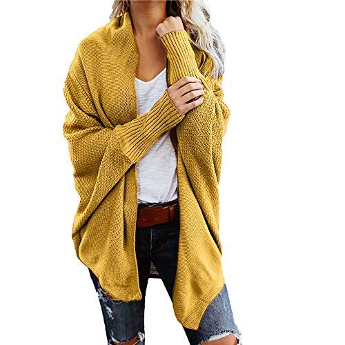 iHENGH Damen Winter Warm Bequem Mantel Lässig Mode Frauen Womens aus der Schulter Pullover lässig gestrickte lose Lange Ärmel Jacke (Gelb,XL)
