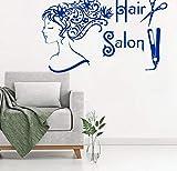 Sticker mural salon de beauté cheveux spa mode fille femme visage coupe de cheveux ciseaux stickers vinyle autocollant mural décor mural Art Mural 55X90CM
