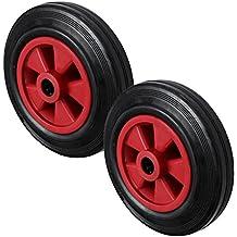 2x 160mm rosso nero pneumatici in gomma con plastica centro ruota carrello