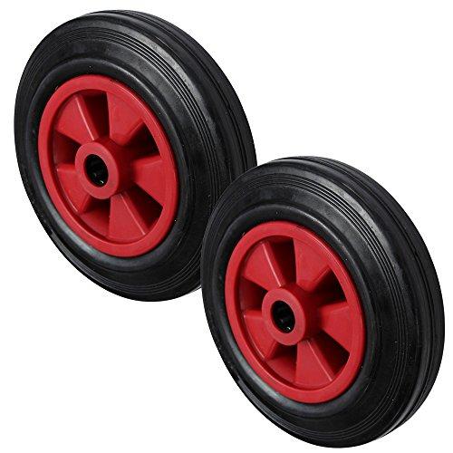 2x 200mm negro rueda de goma con plástico de color rojo centro rueda de carretilla