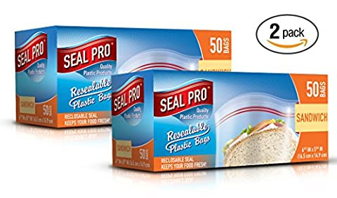 Sealpro Plastic Zip Seal Food Storage Bags Sandwich Size (100