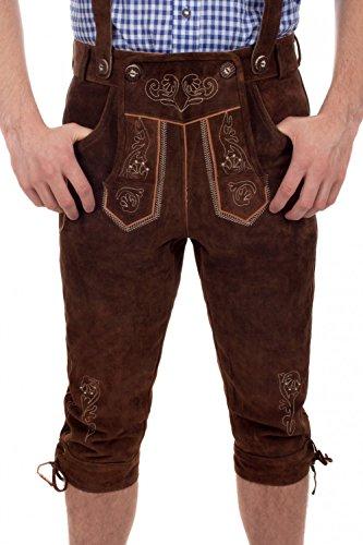 Kinder Trachtenlederhose Kniebund inkl. Hosenträger braun oder schwarz (152, nussbaum) (Braun Nussbaum-leder)