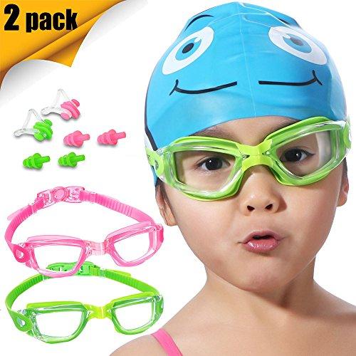 Kinder Schwimmen Schwimmbrille, 2Pack Crystal Clear Schwimmbrille für Kinder und Jugendliche, Anti-Fog Anti-UV schwimmen Brillen, auslaufsicher, frei Nase und Ohr Plugs, One Button Träger, für 5–15Y/O