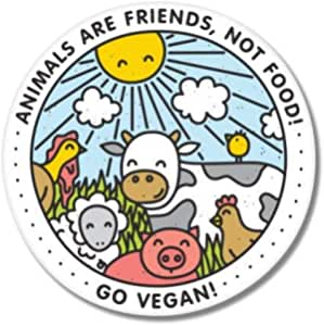 Go Vegan Happy Animals Vinyl Sticker Car Phone Helmet 6 Inch Auto