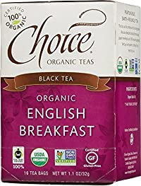 Choice Organic English Breakfast Tea, 1.1 Ounces 16-Count Box (Pack of 6)