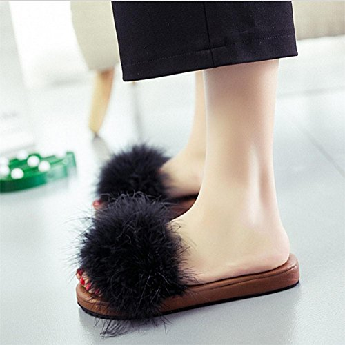 sandales femmes sandales plates occasionnels mot glisser Mme plage sauvage chaussures à bout ouvert Black