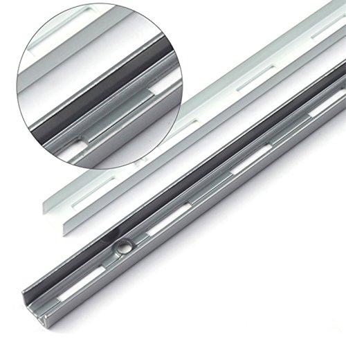 PRIOstahl® WANDSCHIENEN für REGALTRÄGER | 2 x SCHIENEN | 1-reihig | 2000 mm | Silber | Regalhalter Wandregal Regalbodenträger Regal Regalwinkel