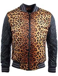 Veste Teddy homme noir motif léopard GOV DENIM 887722_BK
