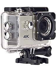 Topjoy F60 4K Ultra HD cámara de deportes de acción WIFI impermeable cámara del deporte con 2,0 pulgadas de pantalla LCD y 170 lente gran angular para Ciclismo Buceo (Plata)