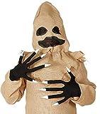Damen Herren Black Witch Voodoo-Puppe Halloween Horror Unheimlich Kostüm Kleid Outfit Zubehör Handschuhe