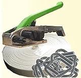 32mm TEXTIL UMREIFUNGSSET ✔ Set mit 1 Rolle Textilband 126m kreuzgewebt ✔ + 100 Klammern ✔ + 1 Spanngerät ✔ ideal zum Holzbündeln