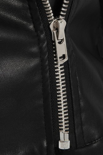SS7 Femmes Faux Cuir Frange Veste, Noir, Tailles 8 à 14 Noir