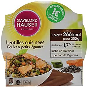 gayelord hauser minceur plats cuisin s aux lentilles et poulet diet 300 g lot de 3. Black Bedroom Furniture Sets. Home Design Ideas