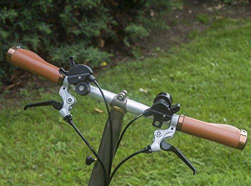 Poignées ergonomiques pour Brompton Vélo pliable Eco Cuir Marron clair en aluminium