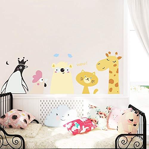 Küken Katze Giraffe Wandaufkleber für Kinderzimmer Schlafzimmer Dekoration Cartoon Tier Wandbild Kunst Diy Pvc Wandtattoo -