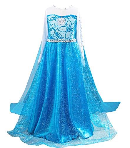 About Time Co Girls' Princess Long Dress Back Cape Costume (4-5 years) (Cape Frozen Elsa)