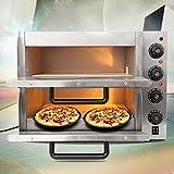 Ridgeyard 3KW Macchina da Pizza Elettrica Pizza Macchina da Forno Cottura Commerciale Grigliata Cucina Ristorante Cafe Food Double Deck