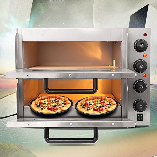 Ridgeyard 3KW Pizzaofen elektrisch Backofen Brotofen Flammkuchen pizzamaker mit 2 Kammern Bistroofen Pizzen pizza maschine