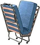 Letto per ospiti - Brandina pieghevole completa con materasso, rete a doghe e telo per copertura. 80x200 cm