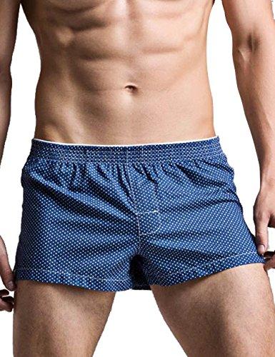 Minetom Herren Basic Boxer shorts Boxershort Unterhose Kariert Muster in vielen Farben Unterwäsche Arrow pants Atmungsaktiv weich Blau EU XL (Poly Shorts Bdu)
