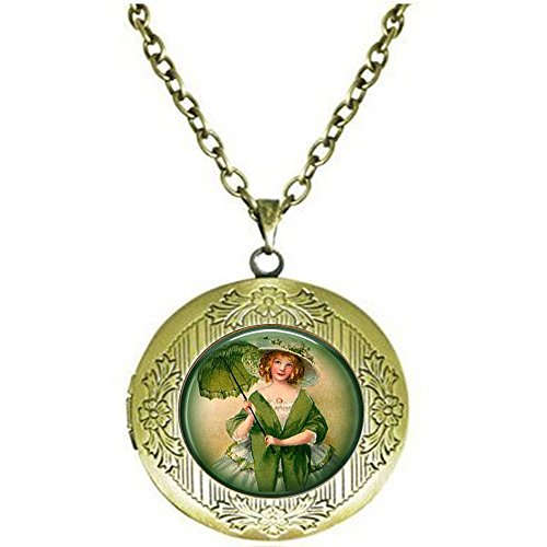 qws Irish Lass Sonnenschirm - irisches Medaillon - St. Patrick's Day Green Jewelry - Vintage Irland Schmuck - Irish Lass Medaillon Halskette - Irland