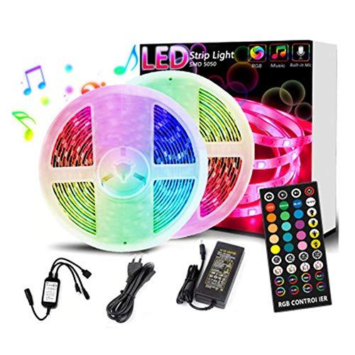 SEXTT LED-Leisten-Kits, 10M 300 LED-Leisten, die den Wasserdichten 12-V-Netzteil-40-Tasten-LED-Leisten mit IR-Fernbedienung IP65 beleuchten,5m