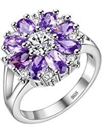 3bd439a95 HMILYDYK Women 925 Sterling Silver Plated Snowflake Cubic Zirconia Ring  with Purple Amethyst & Clear Cystals