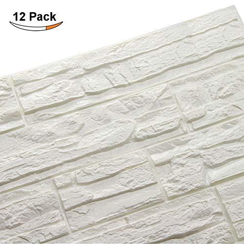 LEISU 3D Ladrillo Pegatina Pared Autoadhesivo Panel Pared Impermeable 3D DIY Wall Stickers Moderno Blanco Decorativo pare Cocina, baño, dormitorio, oficina, fondo TV 60 * 60CM (12pcs, blanco)