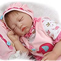 STRIR 22inch 55cm Muñeca de Silicona Realista Suave Suave Vinilo de Silicona Renacido Bebé Muñeca Muñeca Con Muñeca Magnética Reborn Baby Dolls Toy (Chica)