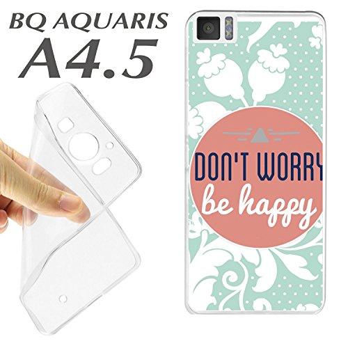Cover + Pellicola Protettiva Vetro Temperato bq Aquaris A4.5Cover Custodia K144Dont Worry Be Happy se Feliz Bonita