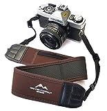 Breiter Neopren Kameragurt-Schultergurt in Braun mit Kleinem Reißverschlussfach Tragegurt Trageriemen Quick-Strap für Canon Nikon Sony DSLR-Kameras // Mind-Care-Essentials