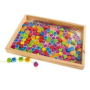 WOOMAX - Set cuentas de madera natural 152 piezas (ColorBaby 43899)