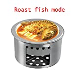 Olymstore Beweglicher Multifunktions Smokeless Barbecue Gebratenem Fisch Cooking Edelstahl Camping Picknick Stove Kochgeschirr Kit Silber - 5