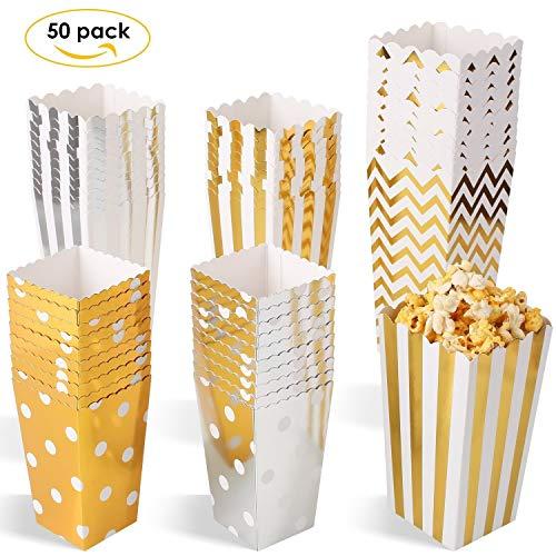 MVPower Popcorn Boxen 50 Pcs Party Candy Tüten Container Behälter Karton Gold Silber L/M/S (3er Größe Set) (Kleine Popcorn-boxen)