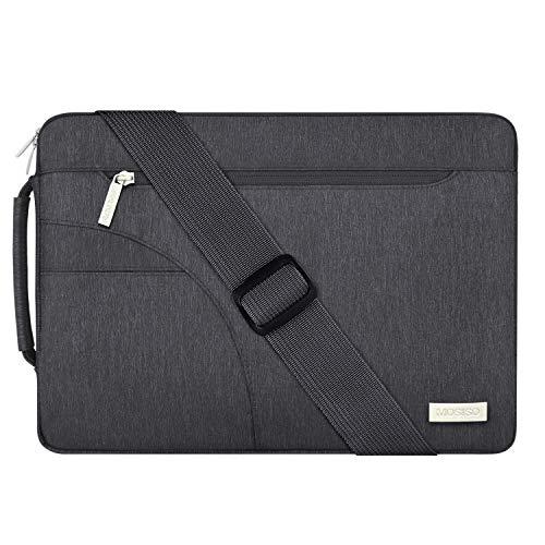 MOSISO Housse Compatible 13-13,3 Pouces MacBook Pro, MacBook Air, Notebook Computer, Polyester Hydrofuge Serviette Ultraportable Sac Bandoulière, Espace Gris