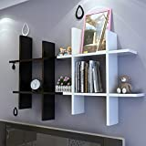 Homdox Modern Holz Wandregal Set Bücherregal Hängeregal Holzregal Bücher CD Regal Weiß